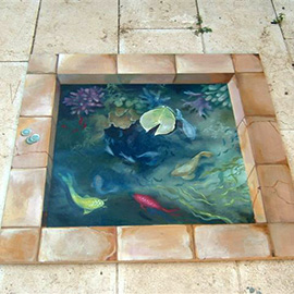 3d painting pond fishes