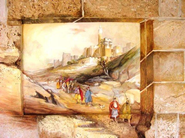 ציור קיר בסלון של ירושלים בתקופת התנ''ך