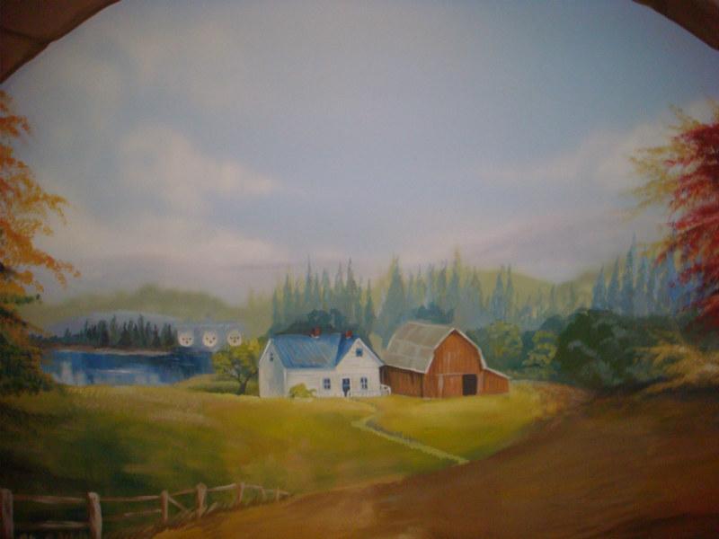 ציור אווירה נוף כפרי זום