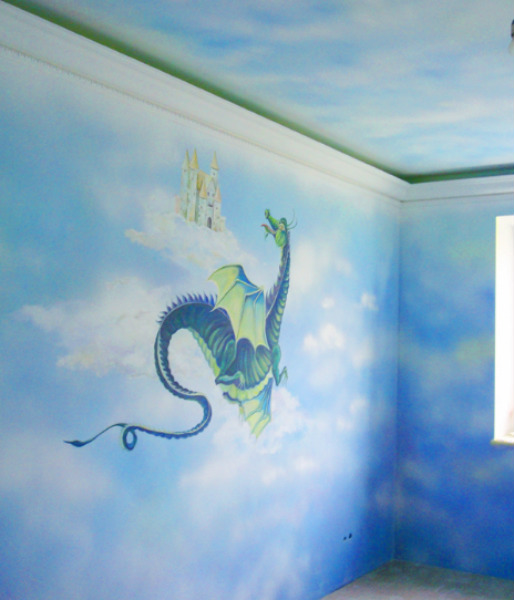 עיצוב קירות דרקון וטירה
