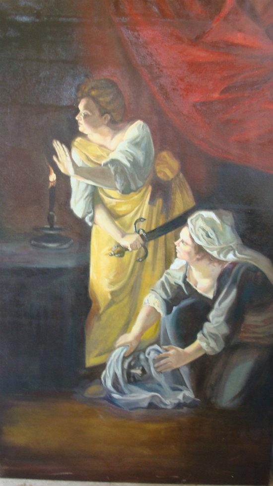 ציור שמן על בד יהודית והולופרנס של Gentileschi