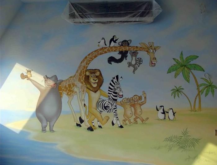 ציור קיר בנושא סרט מדגסקר