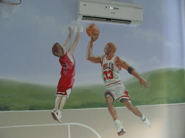 ציור קיר של מייקל ג'ורדן לחדר נוער