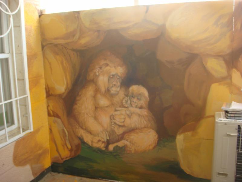 ציור קיר קופים למרפסת גן ילדים