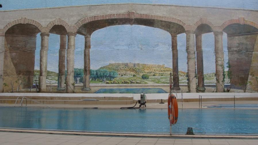 ציור קיר בבריחת בית מלון רימונים בירושלים