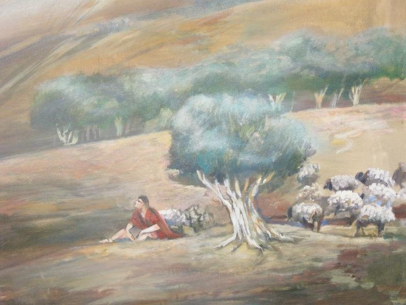 החלק הימני של הטריפטיכון (ציור קיר לסלון)  זום