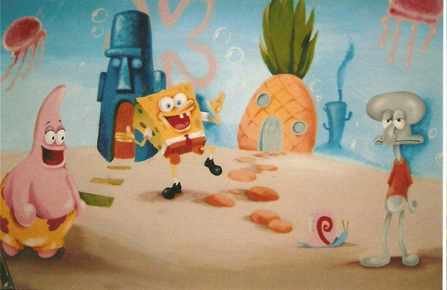ציור קיר לגן ילדים בוב ספוג