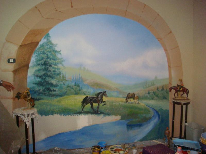 ציור קיר של חיות סוס