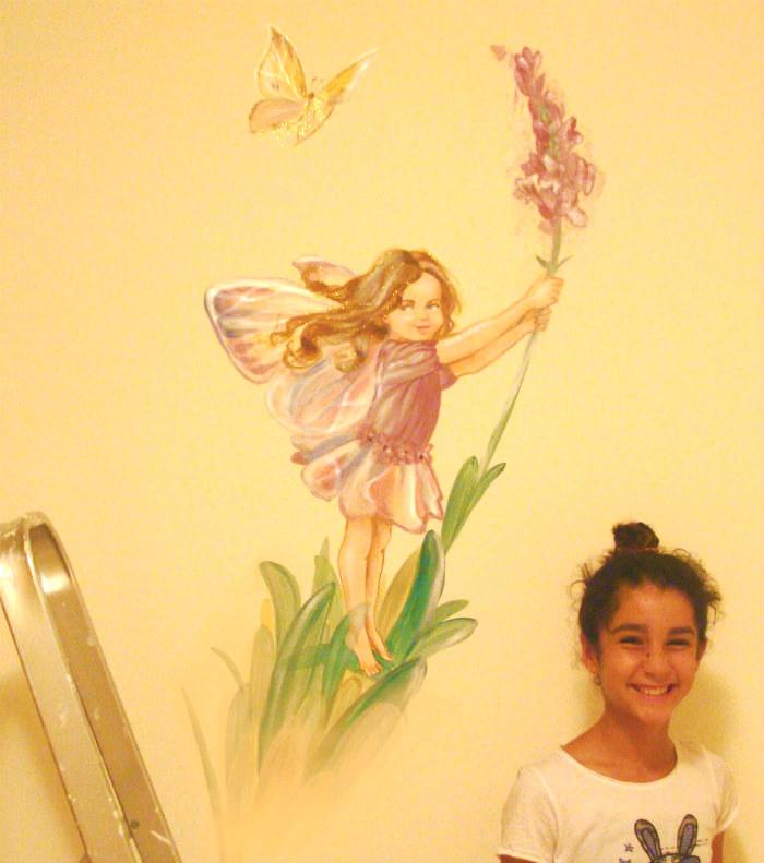 ציור קיר פיה לחדר בנות