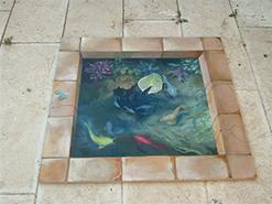 ציור רצפה תלת מימדי בריכת הדגים