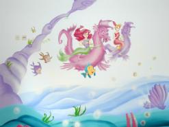 ציור הקיר בחדר של ילדה קטנה מאשדוד של בת הים אריאל