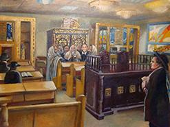 ציור שמן על בד קנבס בהזמנה אישית בית כנסת
