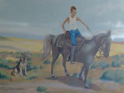 ציור קיר של בחור שרוכב על סוס