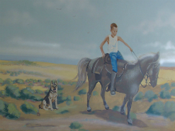 ציור קיר של ילד על סוס