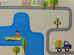 ציור קיר של מכוניות בעיר בשלוה ירושלים
