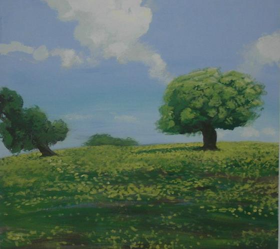 ציור קיר של עץ ודשא באיתנים מחלקת אוטיסטים