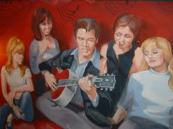 ציור קיר בתוך מסעדת אלביס