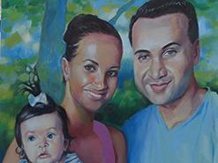 ציור שמן על כנווס של משפחה מאושרת בטבע