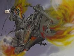 ציור קיר של גוסט ריידר בדרום הארץ