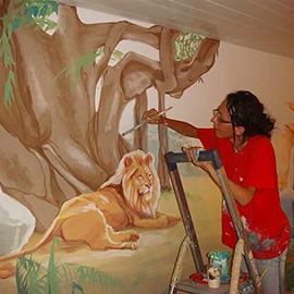 ציור הקיר של נוף אפריקאי בחדר נוער