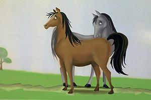 ציור קיר של זוג הסוסים
