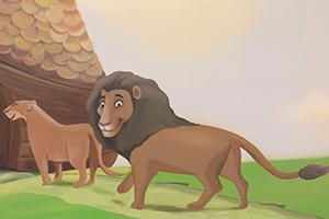 ציור קיר של זוג אריות