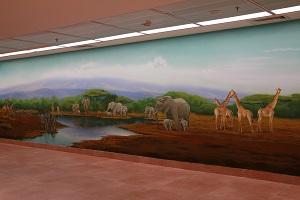 ציור קיר של חיות וסוואנה האפריקנית