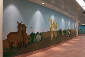 ציור קיר של אלפקות, רקון, גמלים, מירקאטים ופאנדות