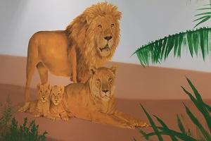 ציור קיר של זוג האריות