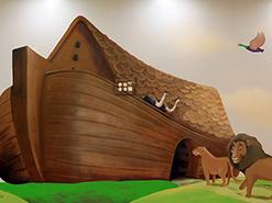 ציור הקיר לילדים של תיבת נח בשלוה ירושלים