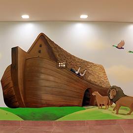 ציור קיר של של תיבת נח בשלוה ירושלים
