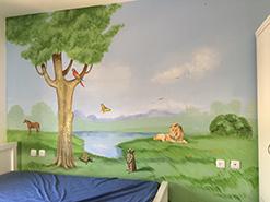 ציור קיר של הנוף הפסטורלי לחדר ילדים