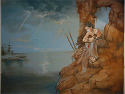 ציור קיר על פי איור מספר פנטזיה בחדר של נער