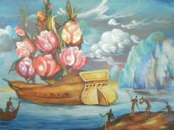 ציור שמן Arrival of the Flower Ship אלכסנדר קוש