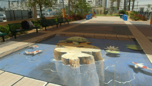 ציור רצפה תלת מימדי בבית הספר פרחי מדע ברחובות