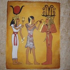 ציור קיר בסגנון מצריים העתיקה בסלון בבית פרטי בתרום