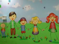 ציור קיר של ילדים במרכז שלווה ירושלים