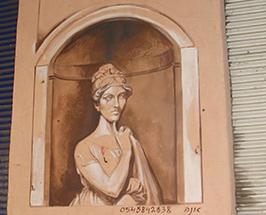 ציור גרפיטי של דונה ספרדית בשוק הפשפשים