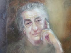 ציור שמן על בד קנבס גולדה מאיר מוזרה