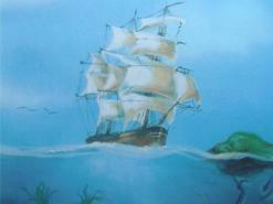 ציור קיר בבריכת ילדים של נוף תת ימי