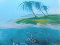 ציור קיר לנוער של נוף תת ימי