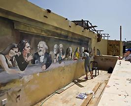 ציור גרפיטי הסעודה האחרונה בטיילת תל אביב צילום של החלק הימני