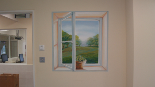 ציור קיר תלת מימד trompe l'oeil בבית חולים לבריאות הנפש- אייתנים