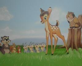 ציור על כל הקיר במבי וחברים בשביל ארגון שלוה