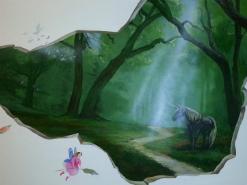 ציור קיר של חדקרן לחדר נוער בכפר סבה