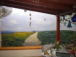 ציור קיר של נוף ימי בשלמותו